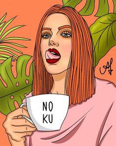 A imagem pode conter: 1 pessoa Girl Power Tattoo, Posca Art, Pop Art Girl, Digital Art Girl, Tumblr Wallpaper, Picture Design, Cartoon Art, Female Art, Art Drawings