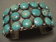 Quality Navajo 'Bulbous Domed Turquoise' Silver Internal Silver Work Bracelet