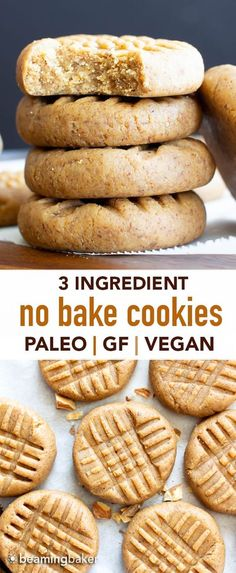 3 Ingredient Almond Butter Paleo No Bake Cookies GF learn how to make easy no bake cookies paleo vegan gluten free Soft sweet satisfying Protein-Rich Refined Sugar-Free NoBake Cookies Paleo GlutenFree Vegan Recipe at Paleo No Bake Cookies, Sugar Free Cookies, Healthy Cookies, Vegan Gluten Free Cookies, Vegan Sugar Cookie Recipe, Vegan Protein Cookies, Sugar Free Muffins, Healthy No Bake Cookies, Soft Baked Cookies