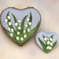 Limoges Lily of the Valley Heart with Pendant Box