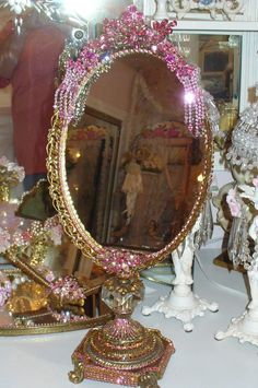 Bejeweled Elegant & Opulent Standing Vanity Mirror From The Collection  By Debbie Del Rosario-Weiss, Juliana,brush, comb, vintage, Clock,tray, mirror, perfume, antique, vintage, victorian, Sparkle,