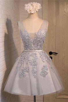 V-neck Gray Short Lace Homecoming Dresses, Handmade Graduation Dresses,Pretty…