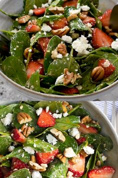 The BEST Strawberry Spinach Salad recipe with baby spinach, sweet strawberries, buttery pecans, and creamy goat cheese tossed in a honey sweetened balsamic vinaigrette. Perfect for a couple or for a crowd - so easy to make! recipes for dinner Spinach Salad Recipes, Healthy Salad Recipes, Spinach And Goat Cheese Salad, Simple Spinach Recipes, Recipe With Spinach, French Salad Recipes, Recipes With Feta Cheese, Simple Salad Recipes, Food Recipes