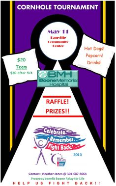 Cornhole Tournament to Benefit Relay for Life. Fundraising Ideas, Fundraising Events, Bake Sale Poster, Cornhole Tournament, Corn Hole, Relay For Life, Fun At Work, How To Raise Money, Event Planning