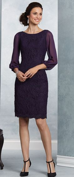 Purple Long Sleeves Short Lace Mother of The Bride Dresses