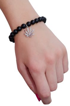 Sydney Evan Cannibas Leaf Stretch Bracelet   Available at Oster Jewelers