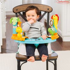 3 solutions in one! This seat is an interactive play place, snack-time seat, and a secure booster with harnesses all in one. Simply slide the toy pods apart for when it's time to eat. Plus, you can keep this seat for years as it transforms into a booster seat for little ones up to 33 lbs.  Shop our Grow-With-Me Discovery Seat & Booster at Target.