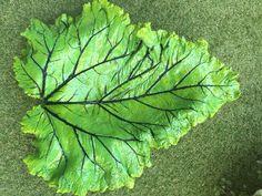 Rabarberblad gemaakt met beton en geverfd in natuurlijke kleuren