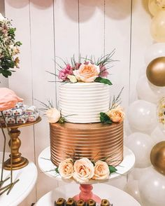 Wedding Cake Rustic, Cool Wedding Cakes, Fancy Cakes, Cute Cakes, Beautiful Cakes, Amazing Cakes, Havanna Party, Graduation Cake Designs, 2 Tier Cake