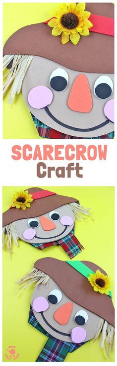 FOAM SCARECROW CRAFT - This cute foam scarecrow craft is great as a Fall craft or for harvest time and Thanksgiving. A free printable scarecrow template makes it super easy and fun to make.