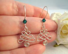 Pretty Celtic Christmas Earrings-Buy from the Etsy owner, or adapt them to quilling.