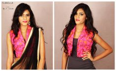 FL 009 - A pink Floral net waist coat blouse with a shawl collar! wear it as a blouse with a sari or simply as a waistcoat! cost: Rs 999/- | US$ 17 |£10 To book an order for this waist coat blouse visit the FB page www.facebook.com/naoumi.clothing