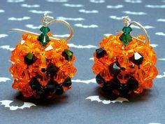 Orange Swarovski Crystal Halloween Jack-O-Lantern Earrings