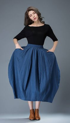 Blue Linen Skirt  Modern Trendy Tulip-Shaped by YL1dress on Etsy