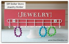 7 smart dollar store organizing solutions springcleaning, crafts, organizing, Wire Rack to Jewelry Holder 1 Grab a wire rack from the dollar store a piece of scrap wood mine is 5 x 18 x 1 3 4 some acrylic paint and letter stickers 2 Paint screw on rack and add stickers