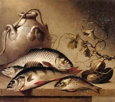 Harmen van Steenwyck Bodegón de peces de agua dulce, junto con una olla de barro y ghrkins, sobre una repisa de piedra