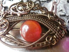 Wire Wrapped Lucky Eye Pendant Necklace Orange by PerfectlyTwisted