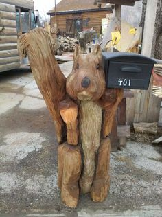 Chainsaw Carved Squirrel mailbox holder Office Mailboxes, Funny Mailboxes, Unique Mailboxes, Diy Mailbox, Mailbox Ideas, Outdoor Projects, Wood Projects, House Projects, Art Carved