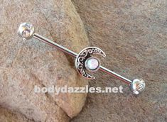 Moon Glitter Opal Industrial barbell Surgical Stainless Steel Body Jewelry Ear Barbell - New Ideas Piercing Industrial Oreja, Industrial Earrings, Cute Piercings, Body Piercings, Barbell Piercing, Piercing Tattoo, Body Jewelry Piercing, Custom Jewelry, Stainless Steel