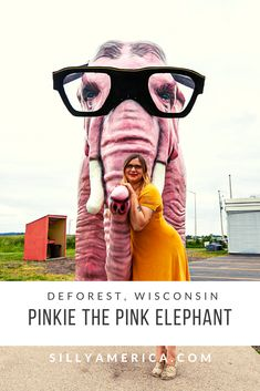 Pinkie the Elephant - a fiberglass giant pink elephant with glasses is a Wisconsin roadside attraction at a Shell Gas Station in DeForest, Wisconsin. Shell Gas Station, Road Trip Map, Great Buildings And Structures, Roadside Attractions, Celebrity Travel, Pink Elephant, Animal Quotes, Trip Planning, Wisconsin