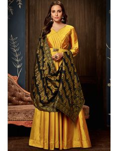 ede0fb649d7 Golden Yellow Gown Style Anarkali with Silk Jacquard Dupatta