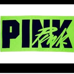 """NWT Victoria's Secret pink towel New with tags green and black logo beach towel, 58"""" x 28"""". PINK Victoria's Secret Other"""
