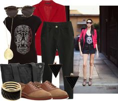 """""""Black and Red"""" by lazymazei on Polyvore"""
