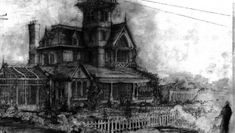 Sketch by Stephen Alesch for the film Practical Magic dir. Griffin Dunne) Sketch by Stephen Alesch for the film Practical Magic directed by Griffin Dunne) Practical Magic Movie, Roman And Williams, Magic House, Season Of The Witch, House Drawing, Glass House, Design Firms, Victorian Homes, Cool Drawings