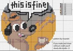 """Finally, a pattern for the ridiculous thing in this here post. Original infamous comic was drawn by KC Green. feel free to tweak colors (my choices here are less stylistic and more """"what threads do I. Embroidery Art, Cross Stitch Embroidery, Embroidery Patterns, Funny Embroidery, Mini Cross Stitch, Cross Stitch Designs, Cross Stitch Patterns, Crochet Cross, Cross Stitching"""