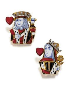 "PAIR OF 18 KARAT GOLD AND ENAMEL ""KING AND QUEEN OF HEARTS"" CLIPS, CARTIER, PARIS, CIRCA 1950. Decorated in red, black, white and blue enamel and accented with small rose-cut diamonds set in platinum, both signed Cartier, Paris, the king numbered 07292 , the queen 07231, with assay marks and various registration numbers."