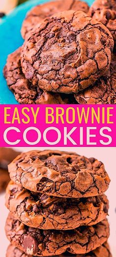These Brownie Cookies are made from an adapted brownie box mix and are loaded with chocolate chips! They have a crisp outer edge and chewy fudge center just like a classic brownie! These Brownie Cookies are made f Nutella Brownies, Fudge Brownies, Brownies Caramel, Nutella Cookie, Oatmeal Cookie Bars, Sugar Cookie Bars, Chocolate Chip Cookies, Cookie Dough Brownies, Chocolate Brownie Cookies