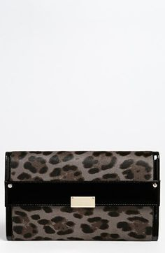 Jimmy Choo 'Reese - Extra Large' Leopard Print Calf Hair Clutch available at #Nordstrom