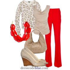 Leopard, Neutral & Bright Orange Pants, created by dresscodeblue on Polyvore