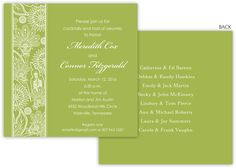 Celery Floral Stripe Invitations