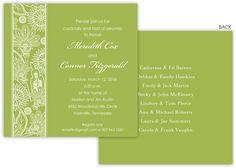 Celery Floral Stripe Invitations