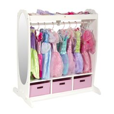 Dress-Up Storage Center complete with mirror and extra drawer space. GENIUS!