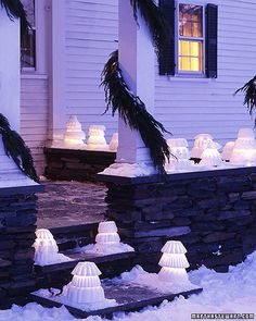 Basic Bundt pans packed with snow give shape to this one-of-a-kind outdoor lighting idea.Martha Stewart Living, 1996/1997