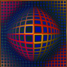 Victor Vasarely - Vega Nor - 1969 - Albright-Knox Art Gallery, Buffalo, New York Vasarely's excellent opus exemplary of Op-Art, melding science with art, Vega Nor Victor Vasarely, Art Optical, Optical Illusions, Op Art Lessons, Vine Charcoal, Arte Linear, Hidden Images, Art Gallery, Art Abstrait