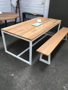 Available now! Oak timber top with raw white powder coated steel frame.