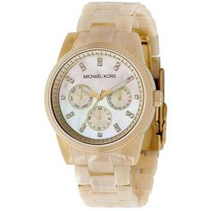 Show your lady that you'll give her all of the time that she needs with this Horn Jet Set contemporary women's chronograph watch from Michael Kors. It features a stainless-steel design with a golden finish and Swarovski crystals to reflect her sparkle.