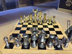 Guy made this chess set from fasteners.