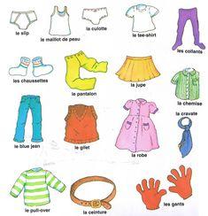 vocabulario de ropa en francés - Buscar con Google