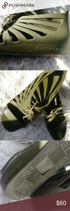 [Givenchy] Rubber Gladiator Sandal's Olive Green! One of my FAVORITE Colors. These Sandals are truly Adorable. Can easily be paired with a dress, some pants, shorts! You name it. Rubber made, in Italy. Some signs of wear, as shown in pictures. Givenchy Shoes Sandals