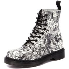 Dr. Martens Pascal 8 Eye Boot Party People Black/White (£125) ❤ liked on Polyvore featuring shoes, boots, ankle booties, botas, faux leather booties, mid heel booties, lace up boots, leather boots et laced booties