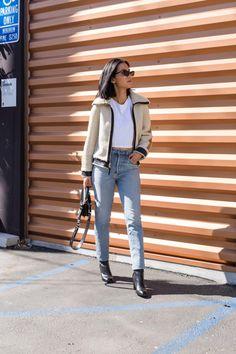 96251211828 LA Blogger Tania Sarin wearing Coach Reversible shearling Jacket