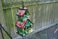 cool recycled bird houses   Recycled Soda Can Birdhouse by HiddenMarshStudios on Etsy