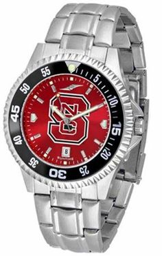 NCSU NC State Wolfpack Men's Stainless Steel Dress Watch by SunTime. $86.95. NCSU Wolfpack men's stainless steel watch. College dress watch with rotating bezel color-coordinated to compliment your favorite team logo. The Competitor Steel utilizes an attractive and secure stainless steel band. Perfect for any occasion, whether casual or formal. Goes great with game day attire. The AnoChrome dial option increases the visual impact of any watch with a stunning ra...