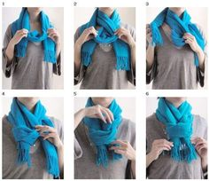 This is Marvelous: how to tie a scarfHow to tie a scarf bow ( // Wrap the scarf around your neck and make sure both ends are even.Scarf Style - Accessories of Women Mode Outfits, Fall Outfits, Fashion Outfits, Womens Fashion, Fashion Tips, Fashion Scarves, Scarf Knots, Diy Scarf, Tie A Scarf