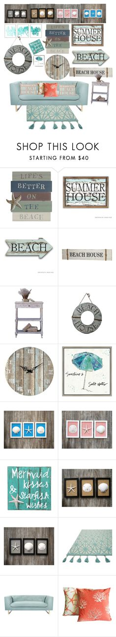"""""""Beach house"""" by bec64 ❤ liked on Polyvore featuring interior, interiors, interior design, home, home decor, interior decorating, Sterling, Green Leaf Art, NOVICA and Loloi Rugs"""