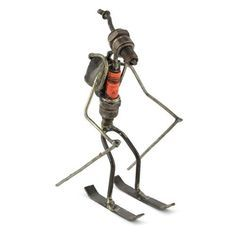 Recycled Spark Plug Skier Metal Sculpture